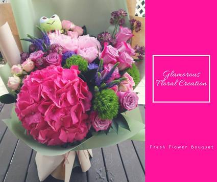 桃紅繡球大牡丹鮮花花束