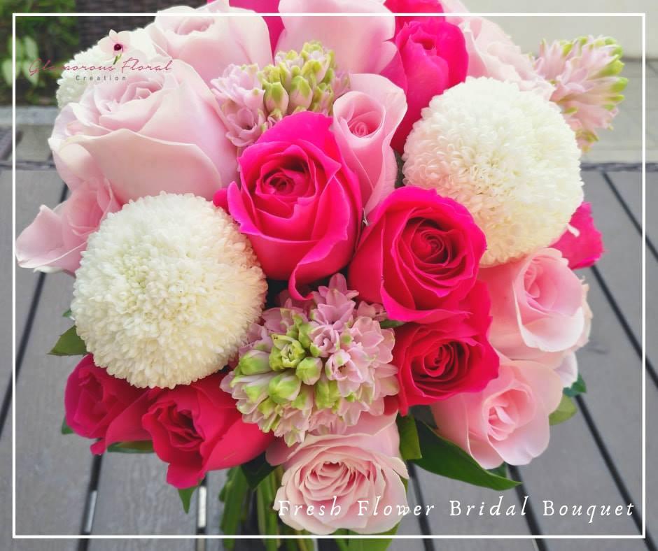 桃紅玫瑰乒乓菊鮮花花球