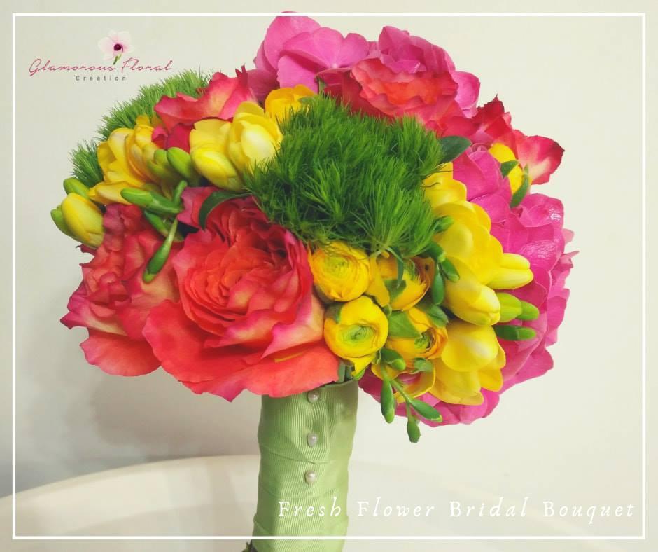 桃紅繡球橙紅玫瑰黃小牡丹鮮花花球