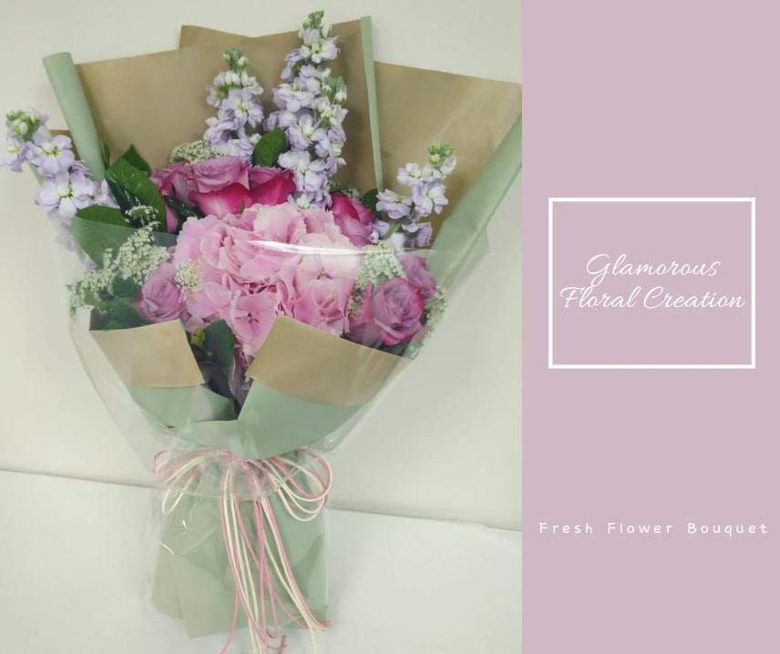 粉紅繡球紫玫瑰鮮花花束