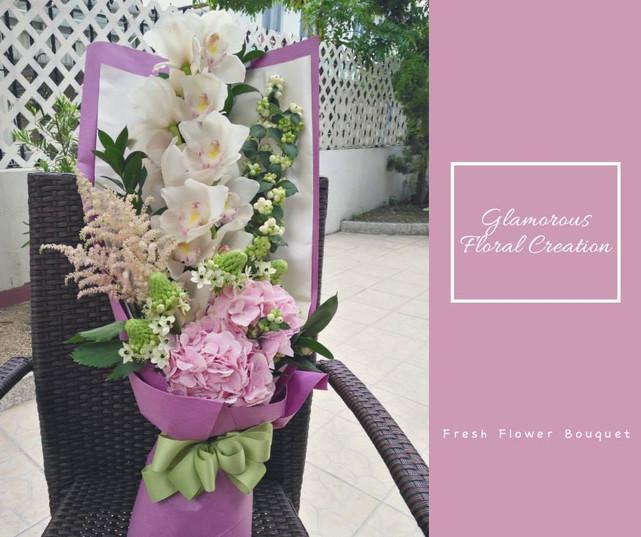 蕙蘭粉紅繡球鮮花花束