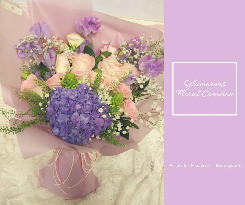 紫繡球桔梗鮮花花束