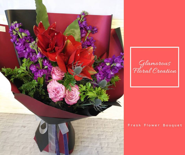 朱頂蘭紫玫瑰鮮花花束