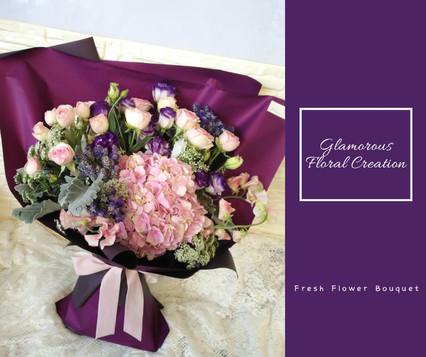 粉紅繡球小玫瑰鮮花花束