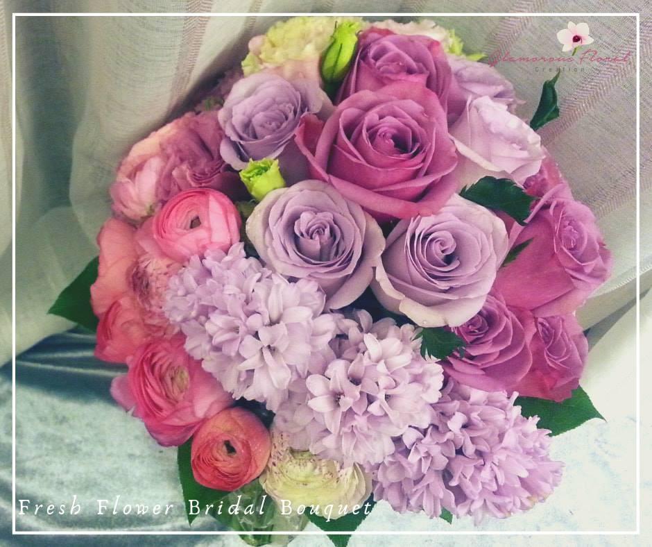 雙色紫小玫瑰粉紅小牡丹鮮花花球