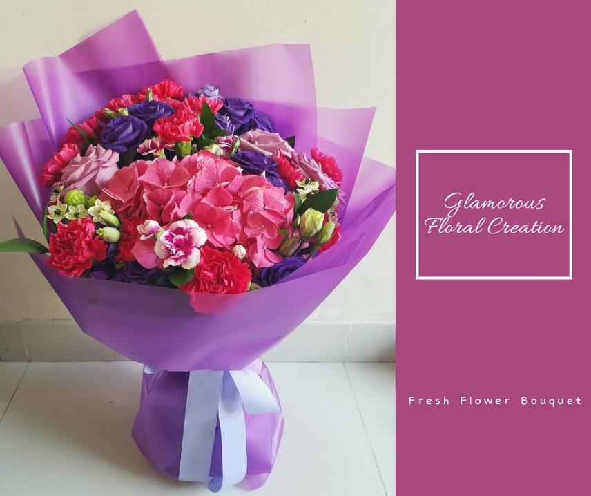 桃紅繡球紫玫瑰康乃馨鮮花花束