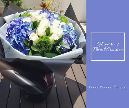 藍繡球白玫瑰鮮花花束
