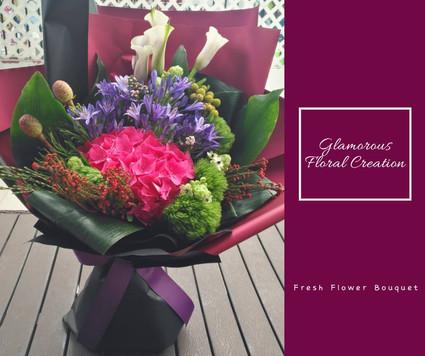 馬蹄蘭桃紅繡球鮮花花束