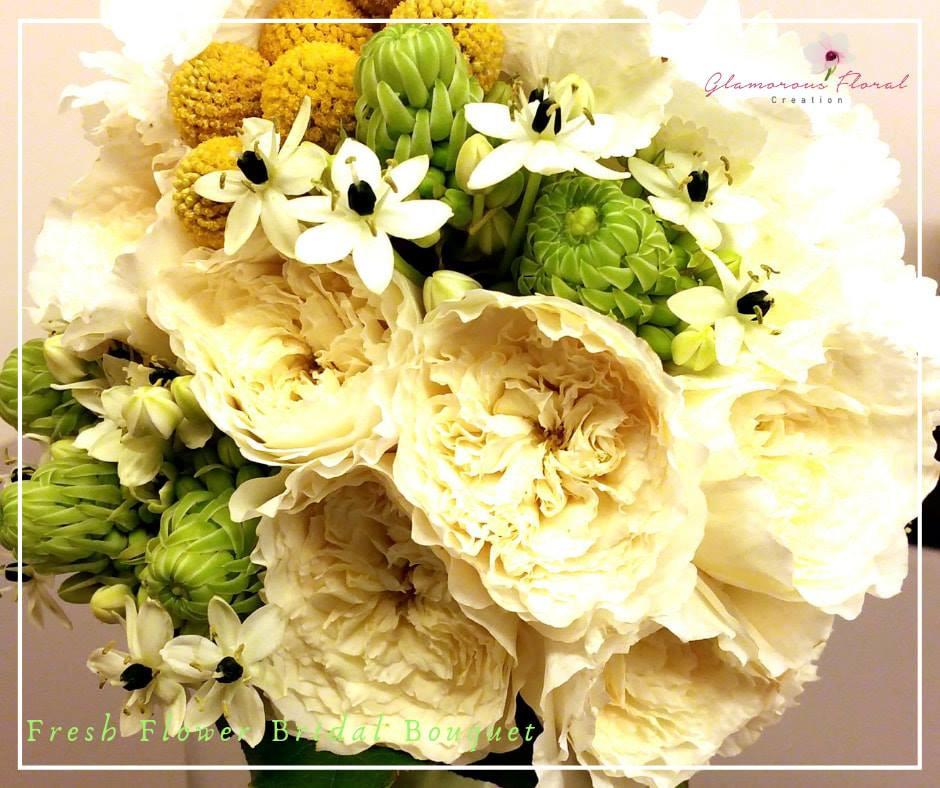 庭園玫瑰白繡球黃金球鮮花花球