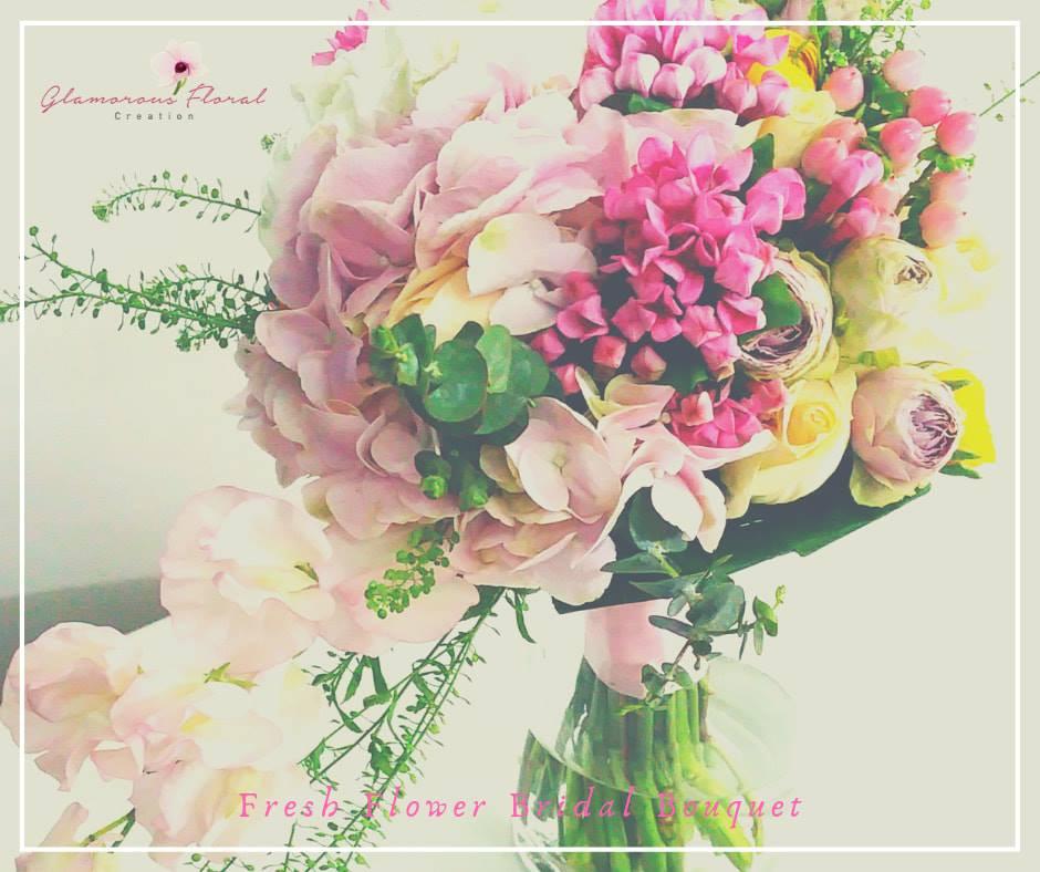 粉紅繡球香檳玫瑰鮮花花球