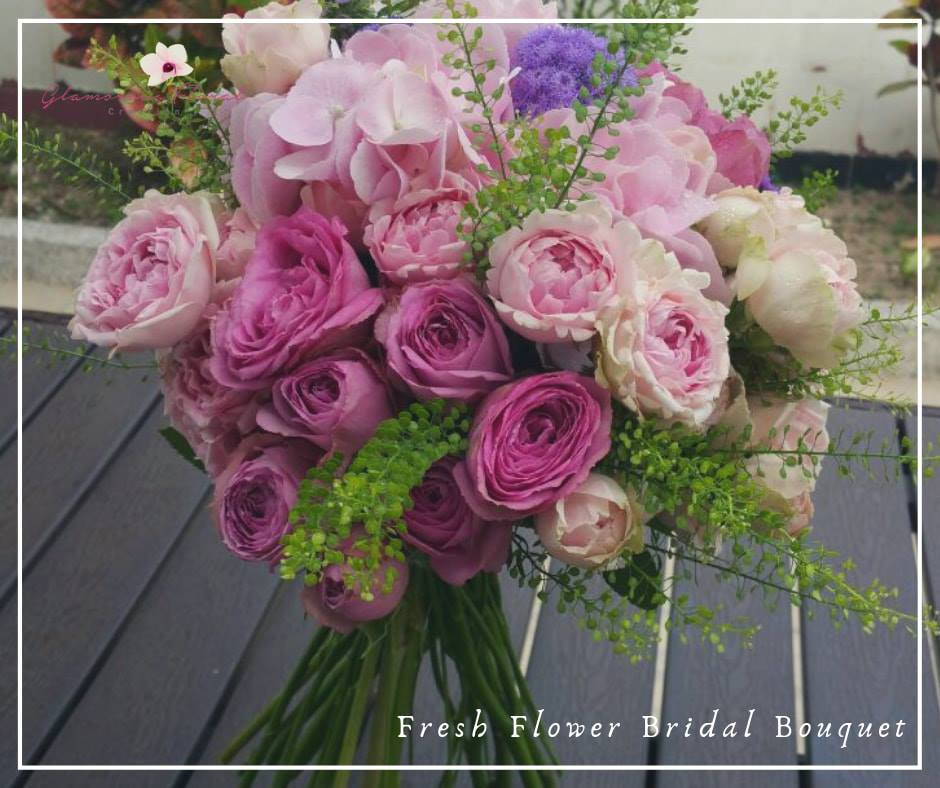 粉紅繡球紫小玫瑰鮮花花球