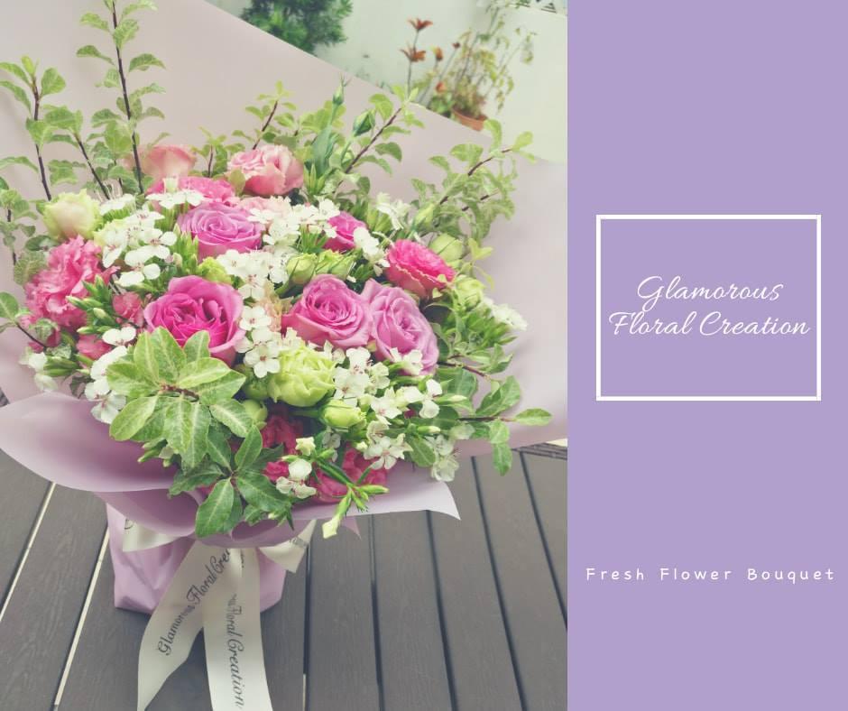 紫玫瑰粉紅桔梗鮮花花束