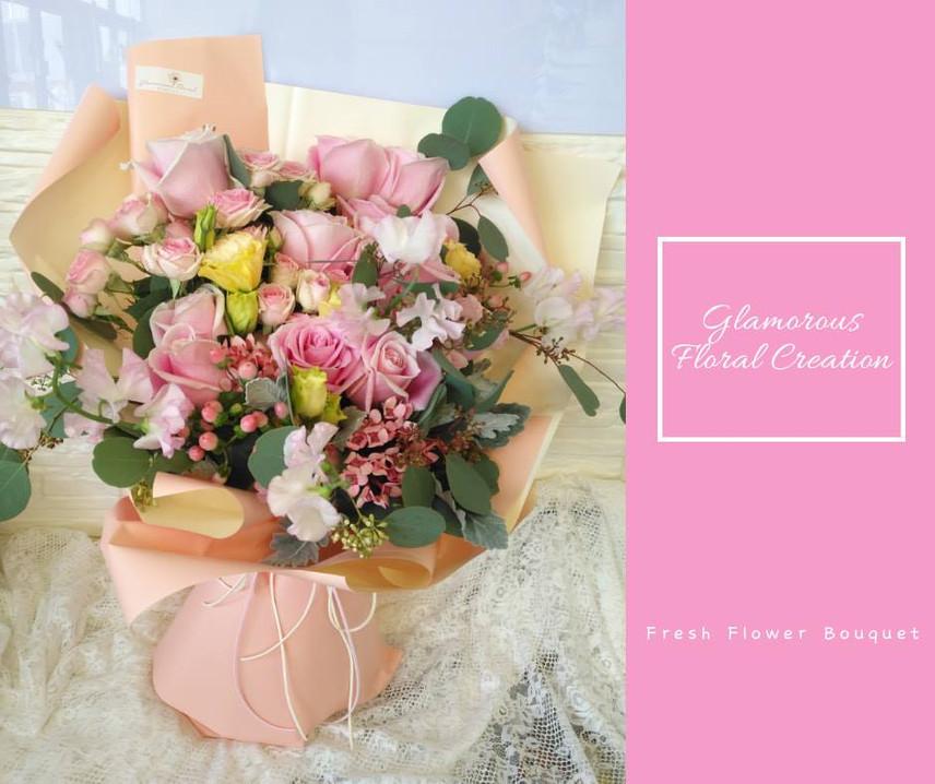 瑪莉亞玫瑰桔梗鮮花花束