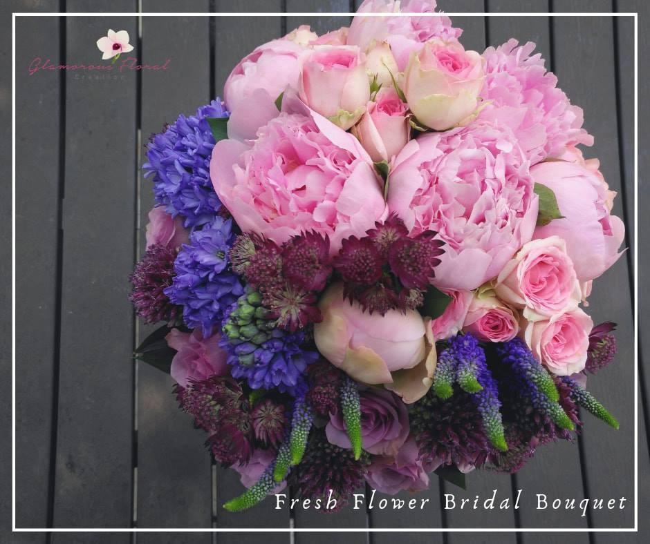 粉紅大牡丹紫風信子玫瑰鮮花花球