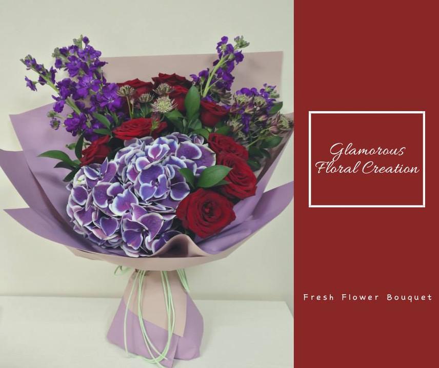 紫繡球紅玫瑰鮮花花束