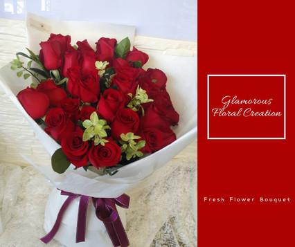 34枝紅玫瑰鮮花花束
