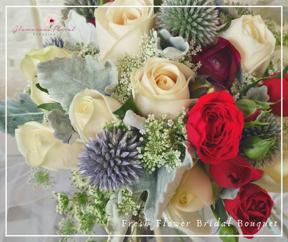 奶油玫瑰小牡丹小玫瑰鮮花花球
