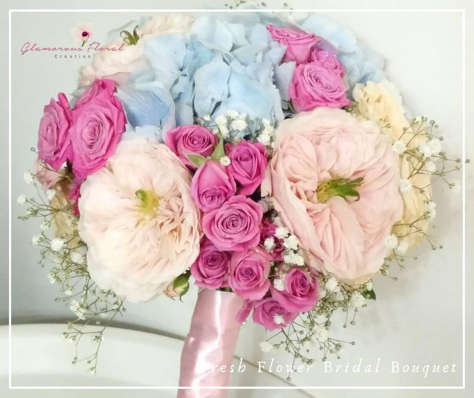 庭園玫瑰粉藍繡球小玫瑰鮮花花球