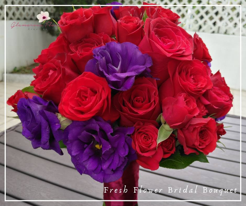 紅玫瑰小玫瑰紫桔梗鮮花花球
