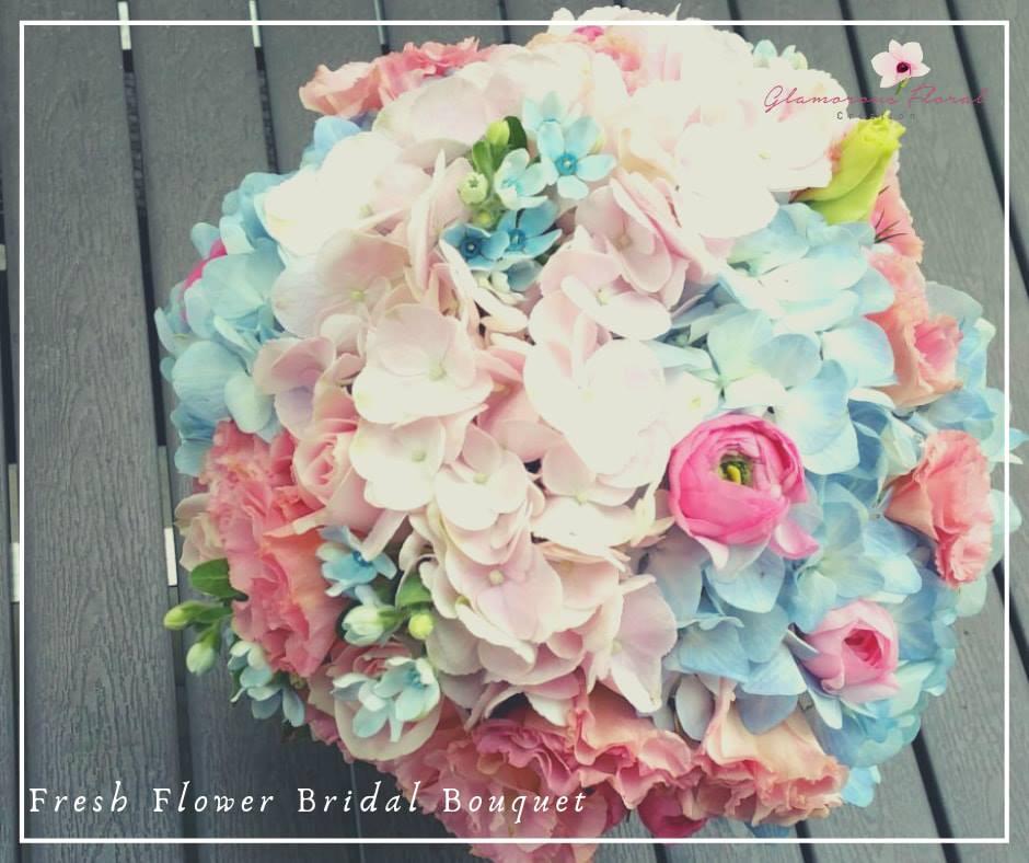 粉紅粉藍繡球藍星花鮮花花球