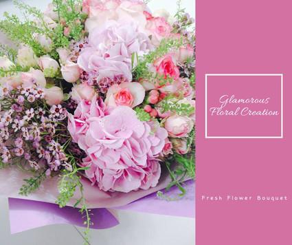 粉紅繡球玫瑰小玫瑰鮮花花束