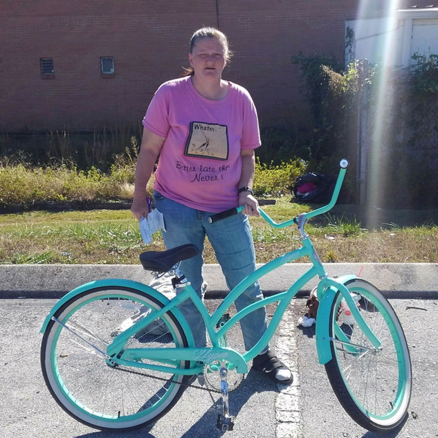The homeless woman needed a bike and a warm blanket.  The CHF was able to provide this to her.