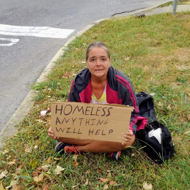 After interviewing his woman, she was not homeless, but passing through.  She wanted food for her trip to Knoxville.  The CHF provided food to her.