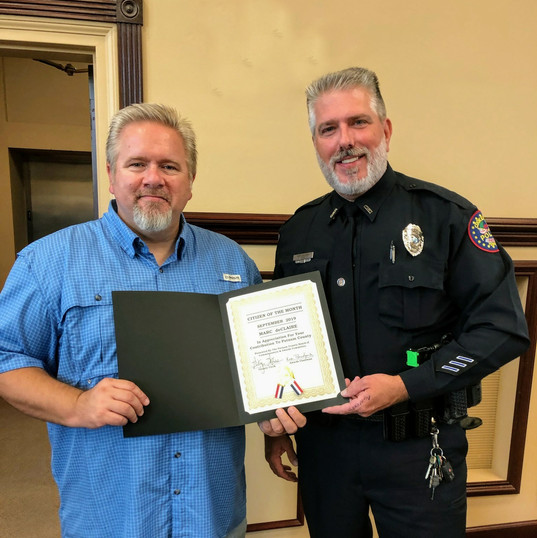Putnam County Commissioner Jonathan Williams submitted Officer Marc deClaire for the Citizen of the Month for his work with the CHF.