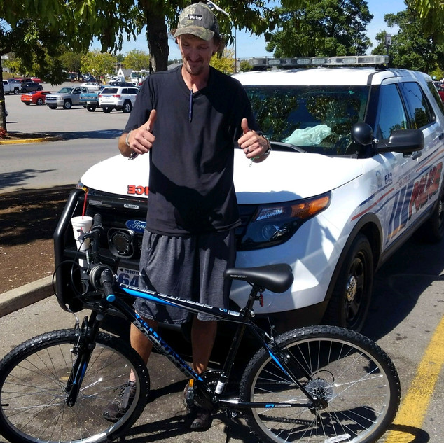 Charles had his bike stolen.  This was his only method of transportation.  The CHF bought him a new one.