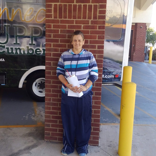 Homeless and displaced.  She needed to be at her son's side for emergency surgery in Mississippi.  The CHF provided her  transportation to Mississippi.