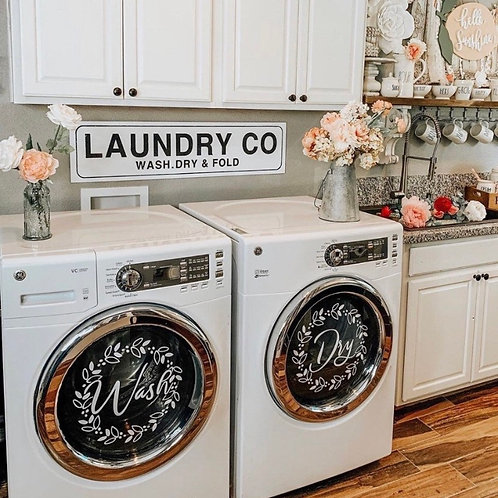 """""""Wash"""" """"Dry"""" front load washer dryer decals with floral wreath"""