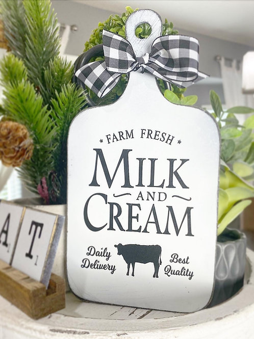 "9"" faux cutting board, kitchen tiered tray decor ""milk & cream"""