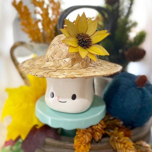 Marshamallow mg fall / autumn straw hat with beautiful sunfloweru