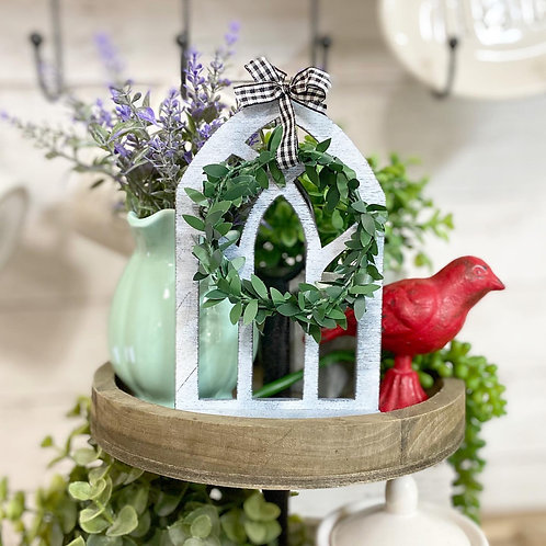 Mini tiered tray cathedral window with boxwood wreath & gingham ribbon