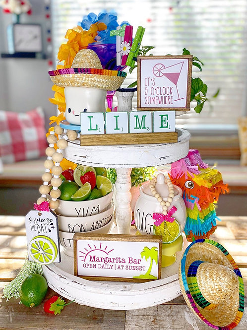 Lime & margarita bar / Cinco De Mayo tiered tray set