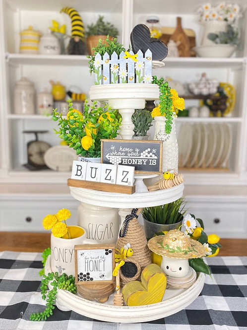 bubble bee / honey bee tiered tray set, save the bees