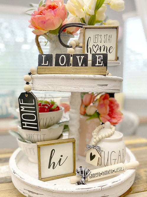 """""""Lets stay home"""" farmhouse style themed tiered tray set"""