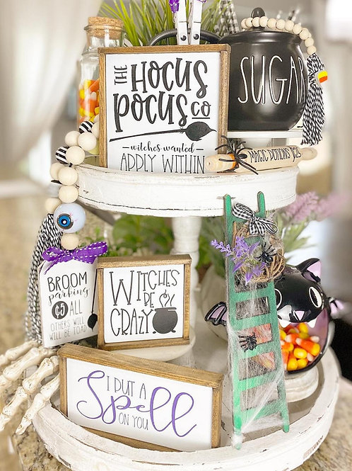 Hocus Pocus, witch themed Halloween tiered tray set