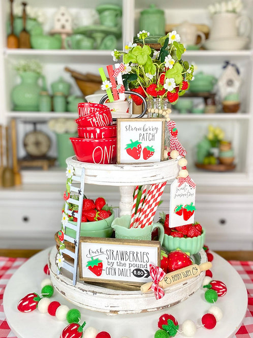 Strawberry Themed Tiered tray set