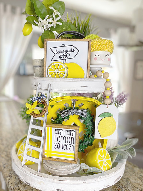 Lemon / lemonade / pink lemonade theme tiered tray set