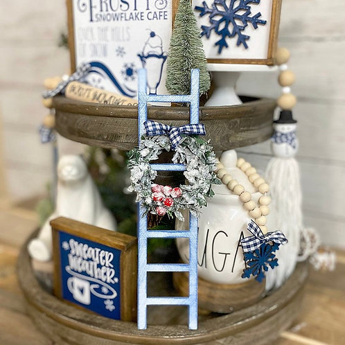 Snow,Frosty themed mini tiered tray ladder, 9' blue and white Christmas