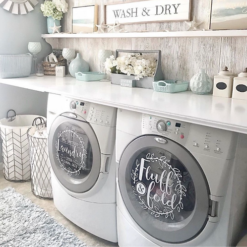 Self service laundry / fluff and fold front load washer dryer decals