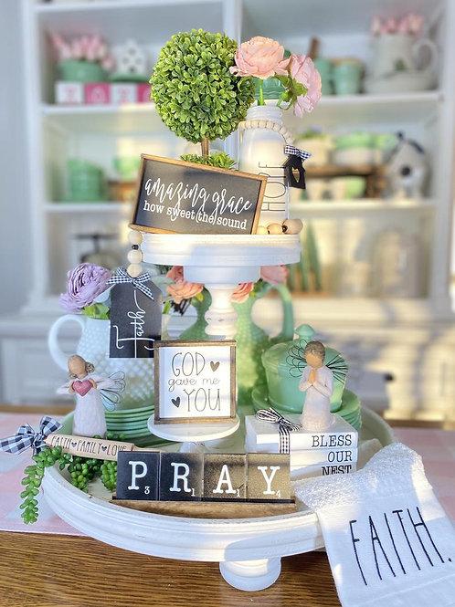Faith themed tiered tray set