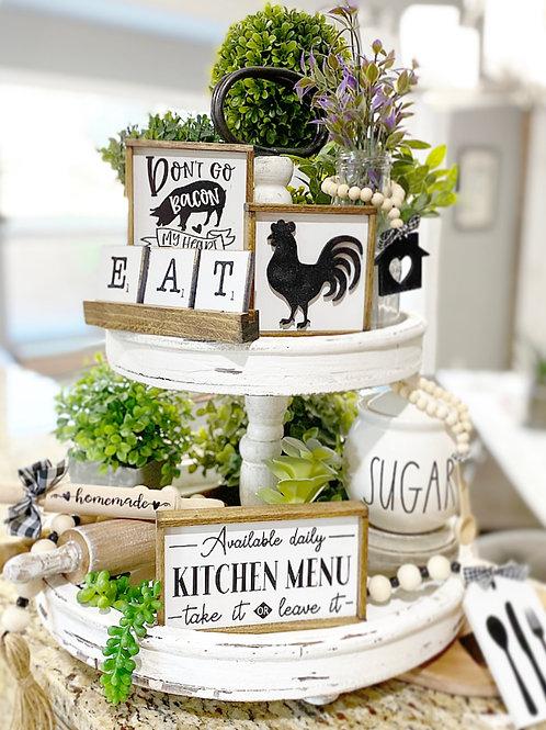 farmhouse style kitchen themed tiered tray set