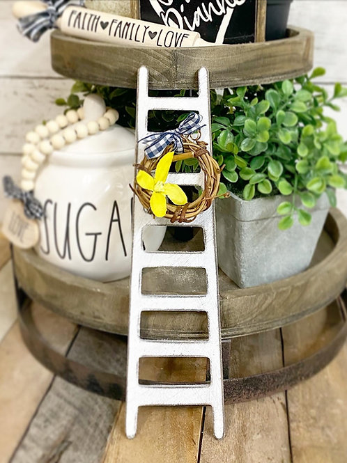 """9"""" tiered tray ladder with grapevine wreath, gingham ribbon & yellow flower"""