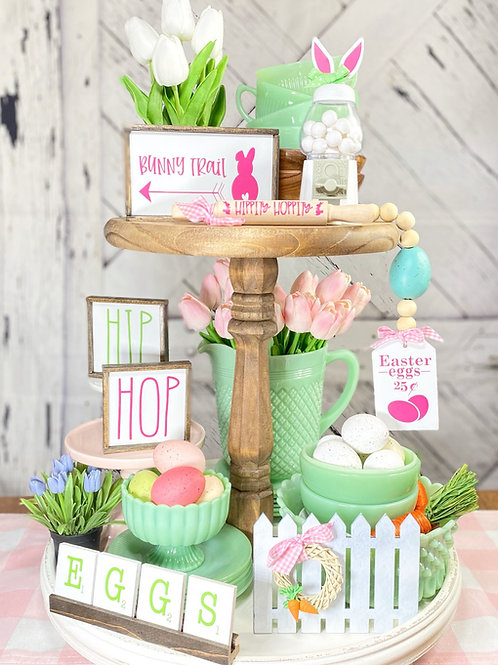 """Easter """"Bunny trail"""" tiered tray set, farmhouse spring"""