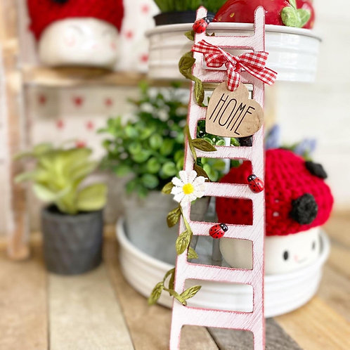 """9"""" Ladybug themed mini.tiered tray ladder, red and white"""