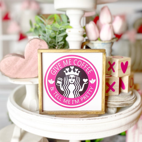 """""""Give me coffee & tell me I'm pretty"""" Starbucks themed, tiered trays, coffee bar"""