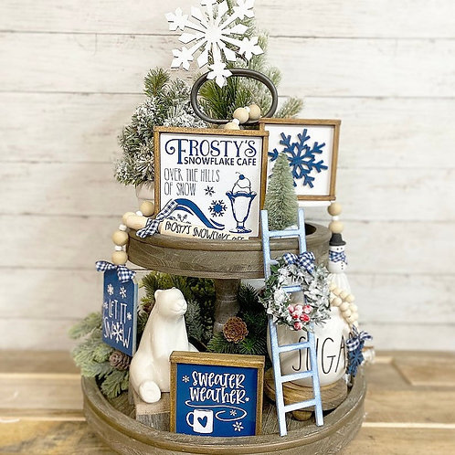 Frosty / snow themed tiered tray set, blue and white Christmas