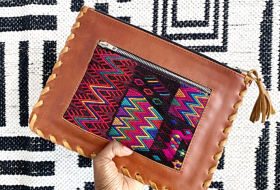 VB   Leather Patch Clutch